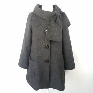 Kate Spade Wool Bow Collar Retro A Line Peacoat